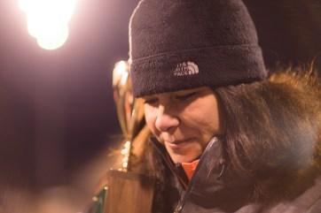 Julie Renner holds the trophy