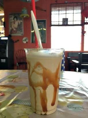 Coffee shake with caramel.