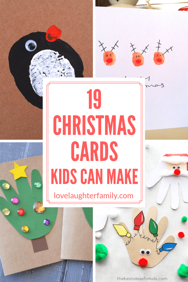 Here are 19 lovely holiday themed christmas cards that you can make with your kids to give to their friends and family.