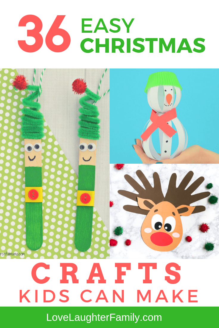 Get creative with the kids with these 36 easy Christmas crafts kids can make including xmas elves, reindeer craft ideas and snowman crafts to keep your kids busy for hours.