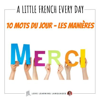 French Vocabulary list - 10 words about manners.