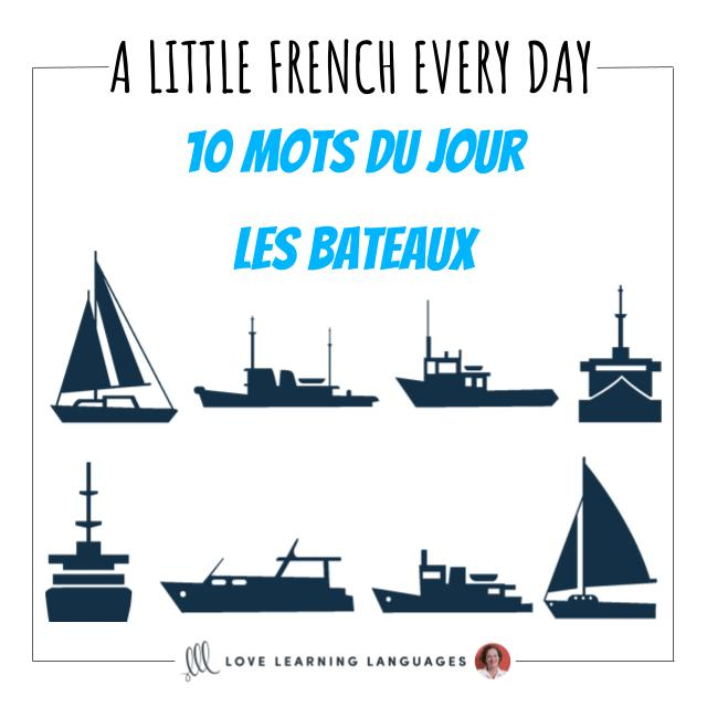 French vocabulary list boats - 10 words
