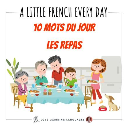 French Vocabulary list - 10 words about meals