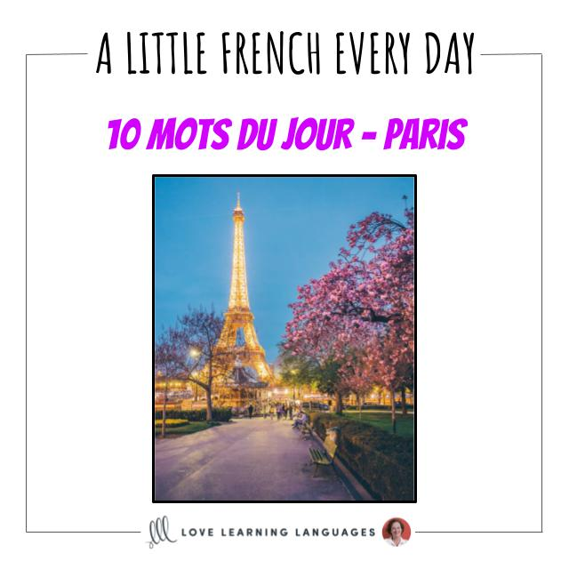 French Vocabulary list - 10 words about Paris