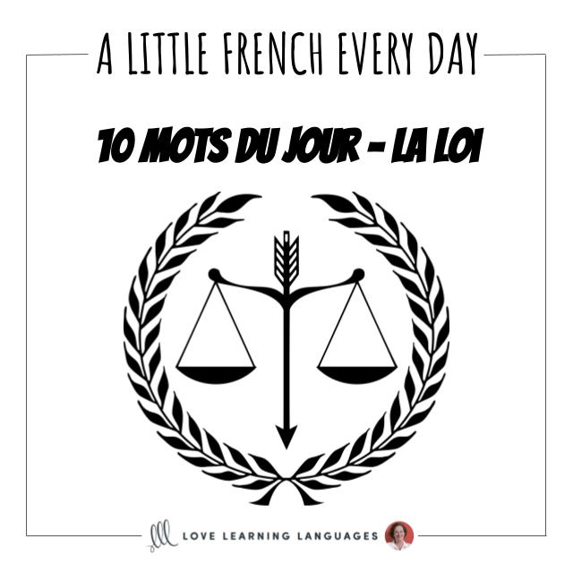 French Vocabulary list - 10 words about the law