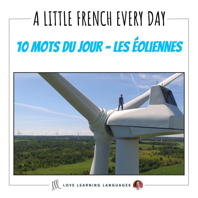 French Vocabulary list - 10 words about wind turbines