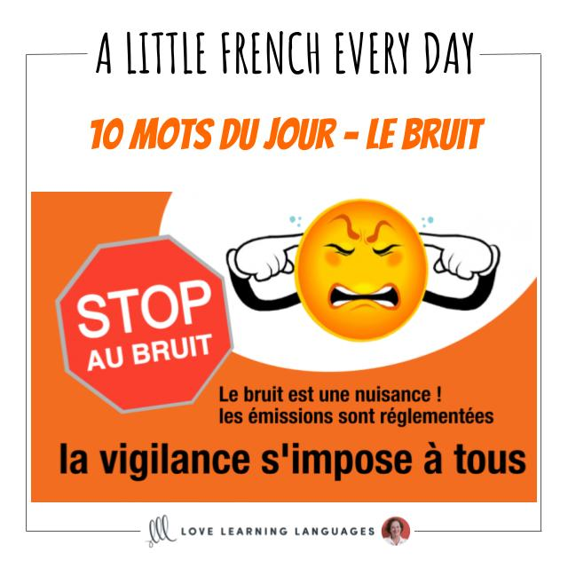 French Vocabulary list - 10 words about noise