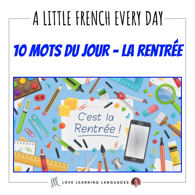 French Vocabulary list - 10 words about back to school