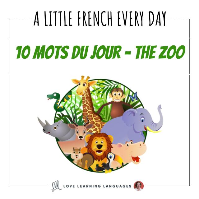 French Vocabulary list - 10 words about the zoo.