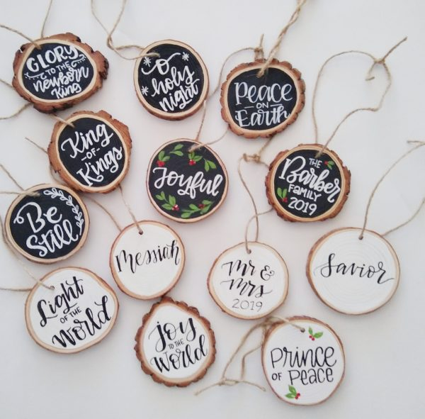 hand lettered wood ornaments