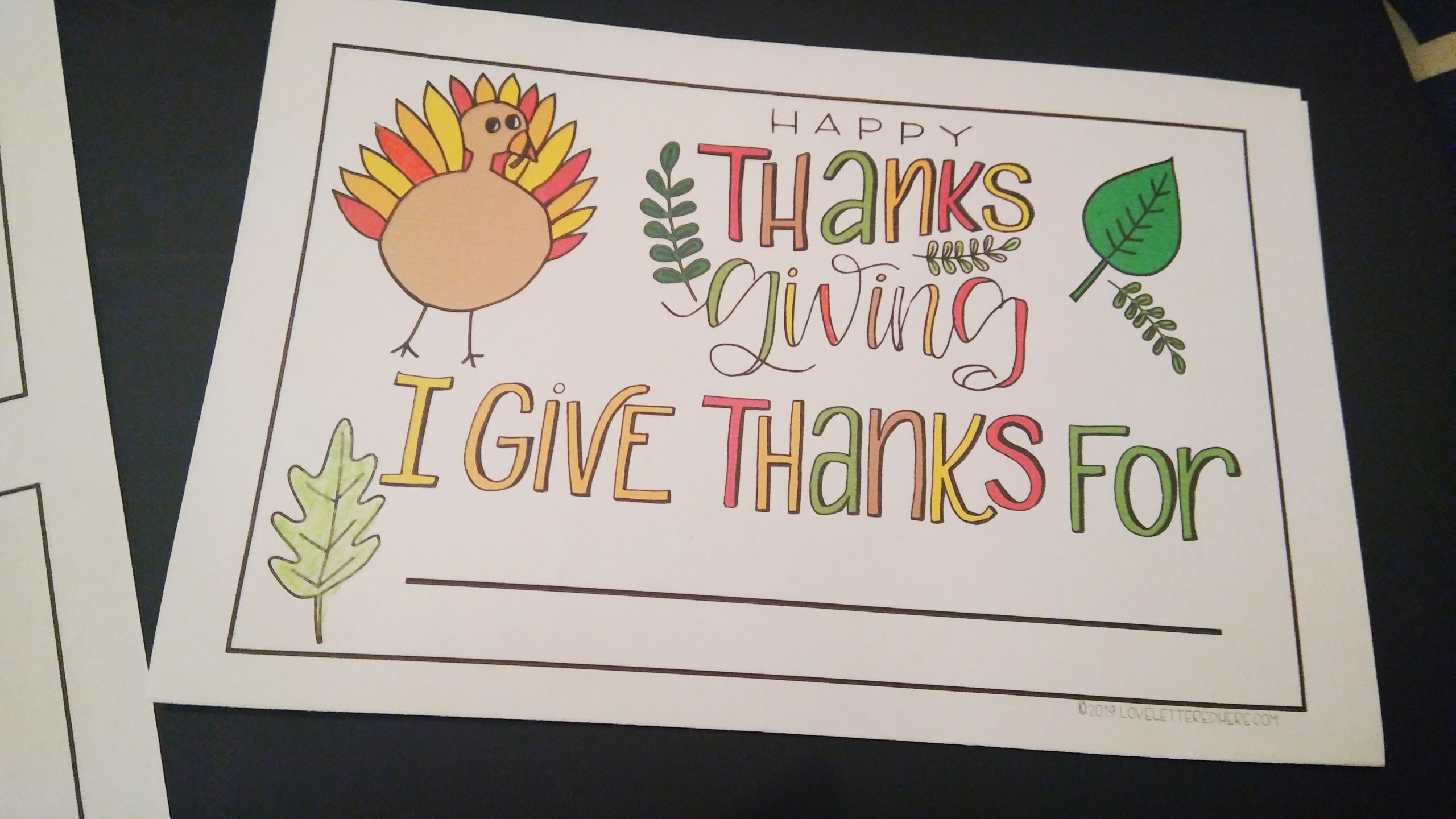 colorful thanksgiving card