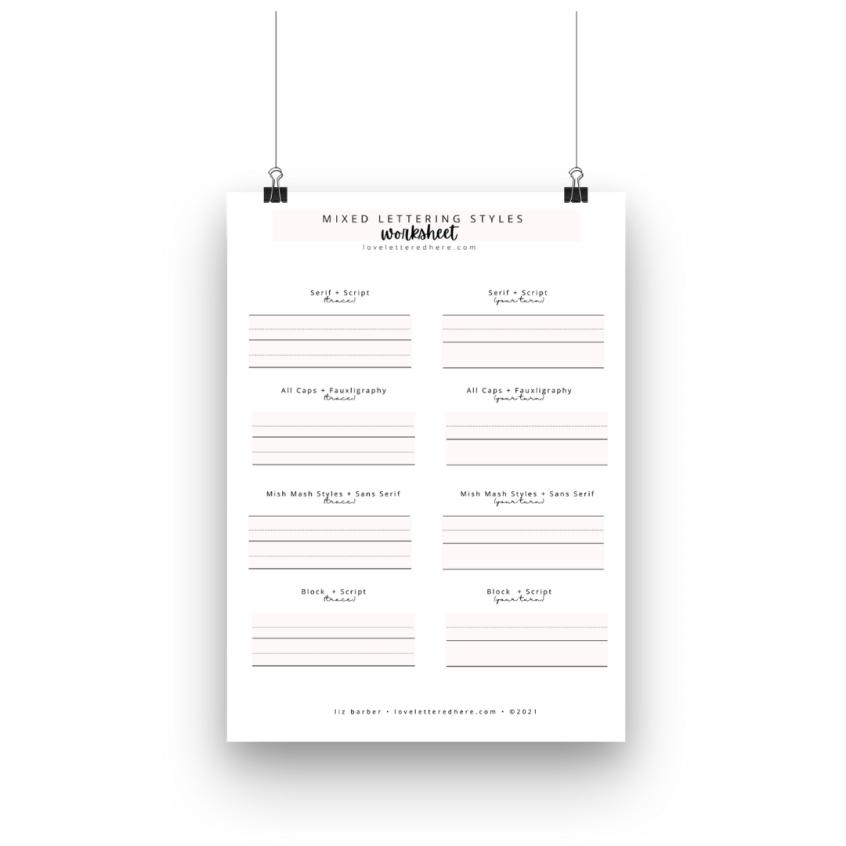 lettering practice sheet for beginners