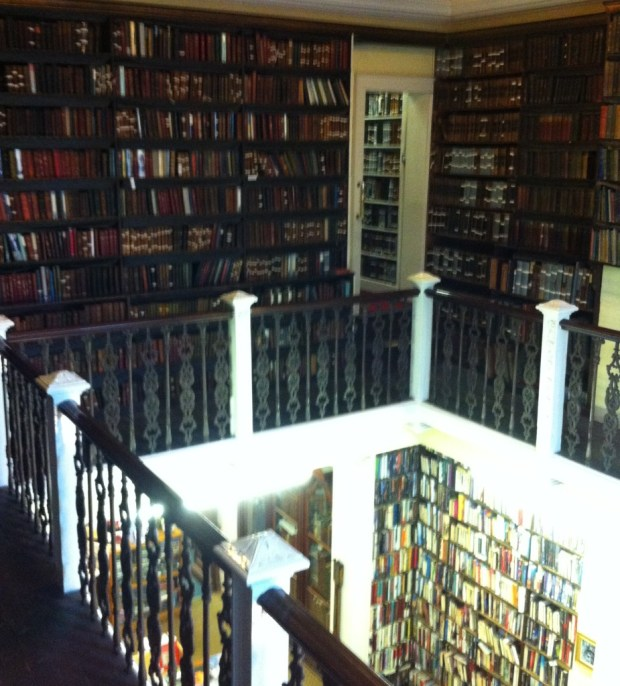Wonderfully old spines. And a one-at-a-time spiral staircase.