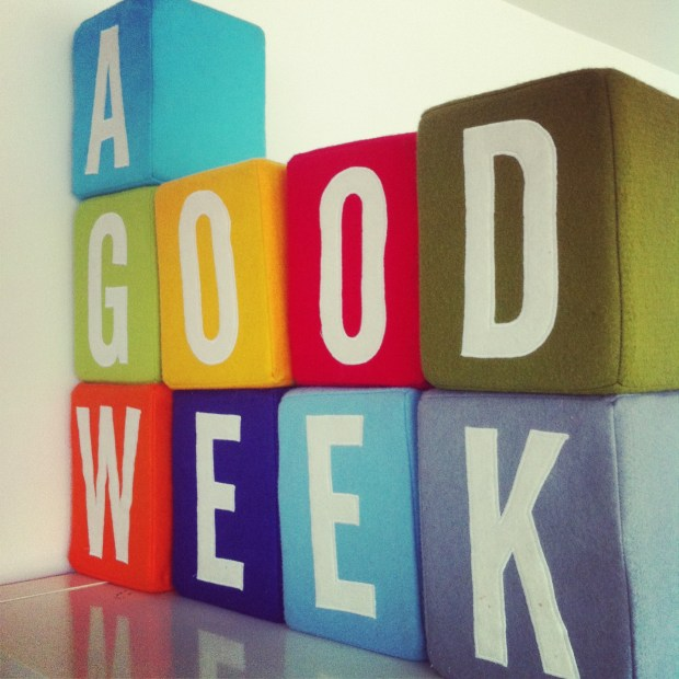 "The plush version of ""A Good Week's"" logo"