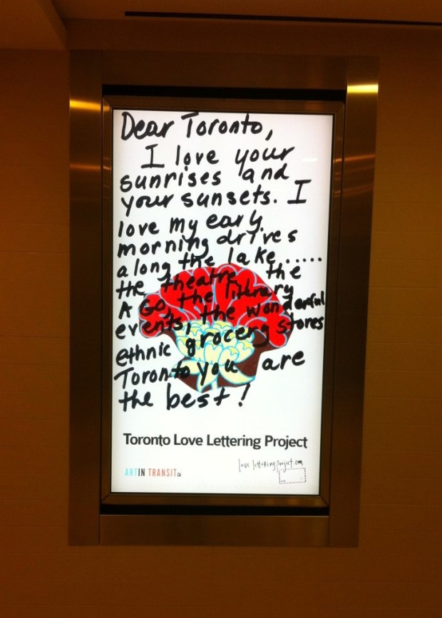 lindsay zier-vogel, love lettering project, the path, art in transit, toronto