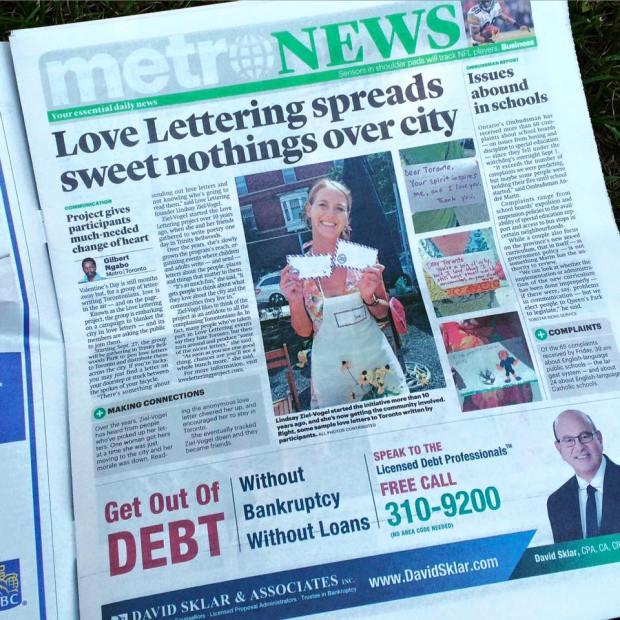 lindsay zier-vogel, metro news, love lettering project