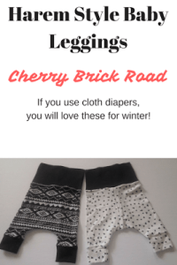 Handmade Harem pants by Cherry brick Road, perfect for cloth diapers!