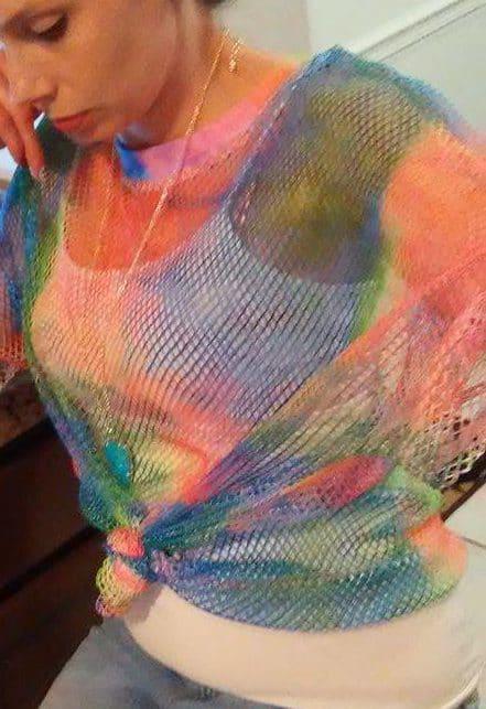 Rainbow Tiedye Fishnet Shirt, Jeans, Turqouise: OOTD