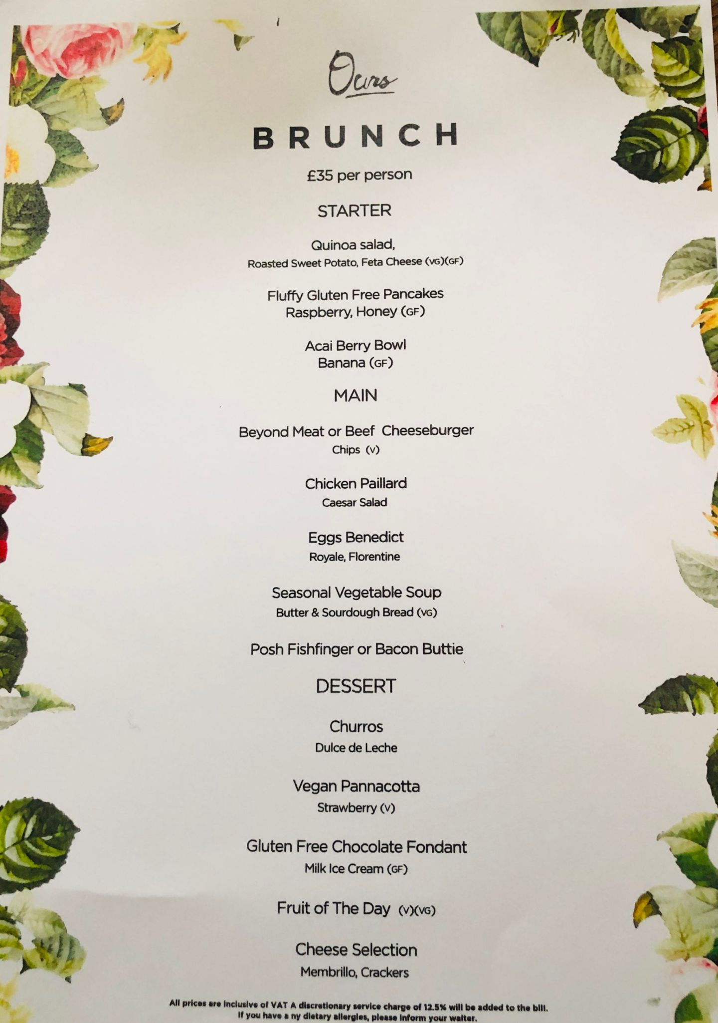 Restaurant Ours Bottomless Brunch - Menu