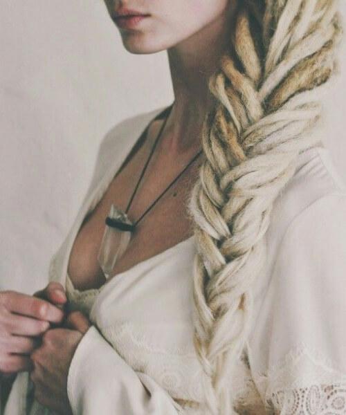 extreme blonde three strand braid women dreadlocks styles