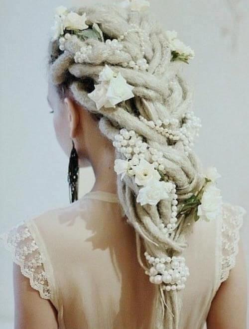 pearls flowers women dreadlocks styles wedding
