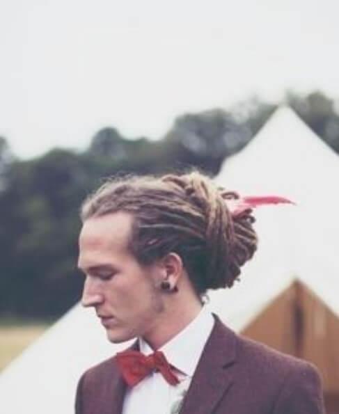 wedding man bun dreadlocks