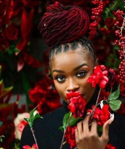 wine red women dreadlocks styles