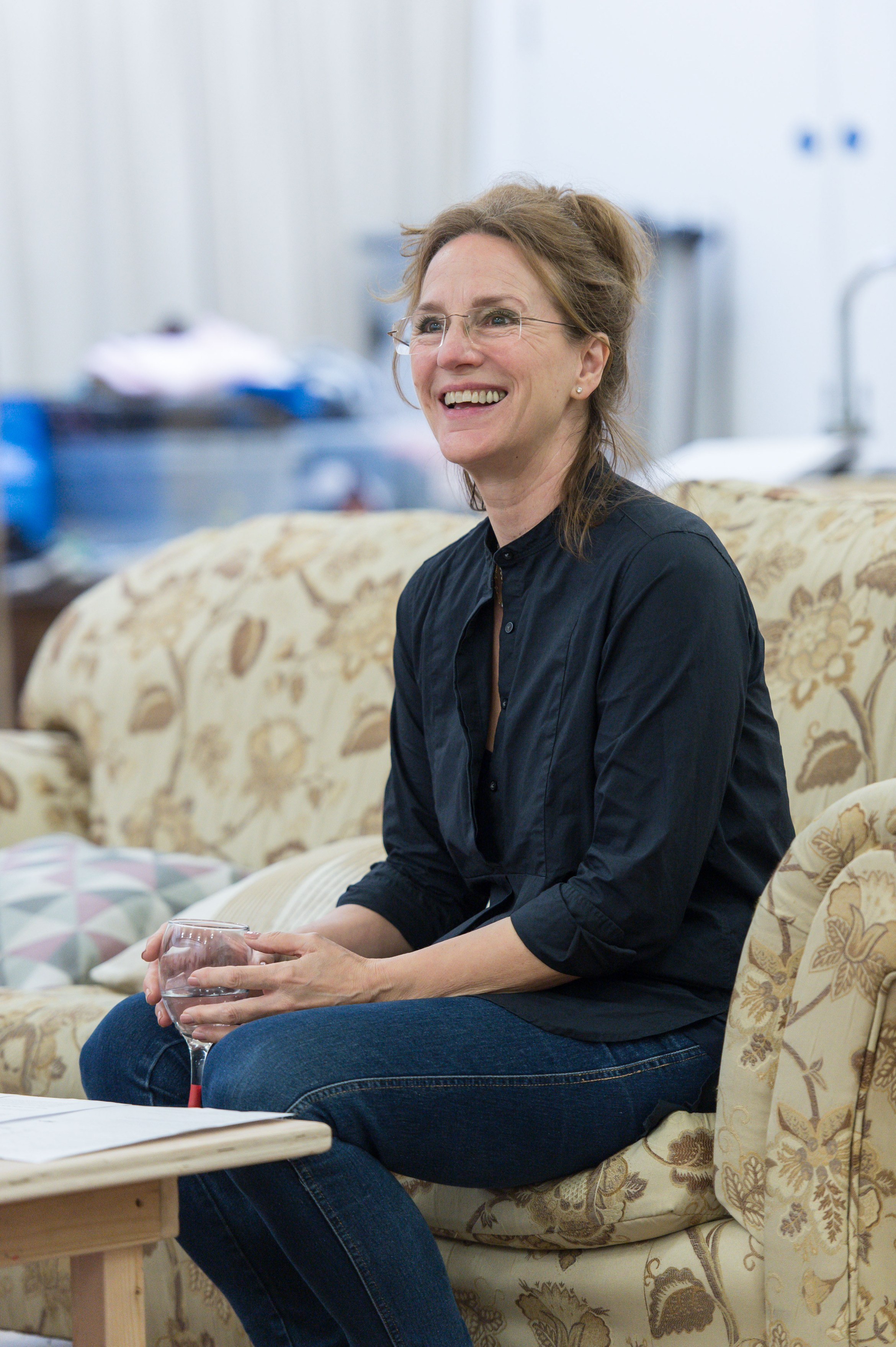 Penny Downie (Nat) in Rabbit Hole at Hampstead Theatre. Photo credit Manuel Harlan