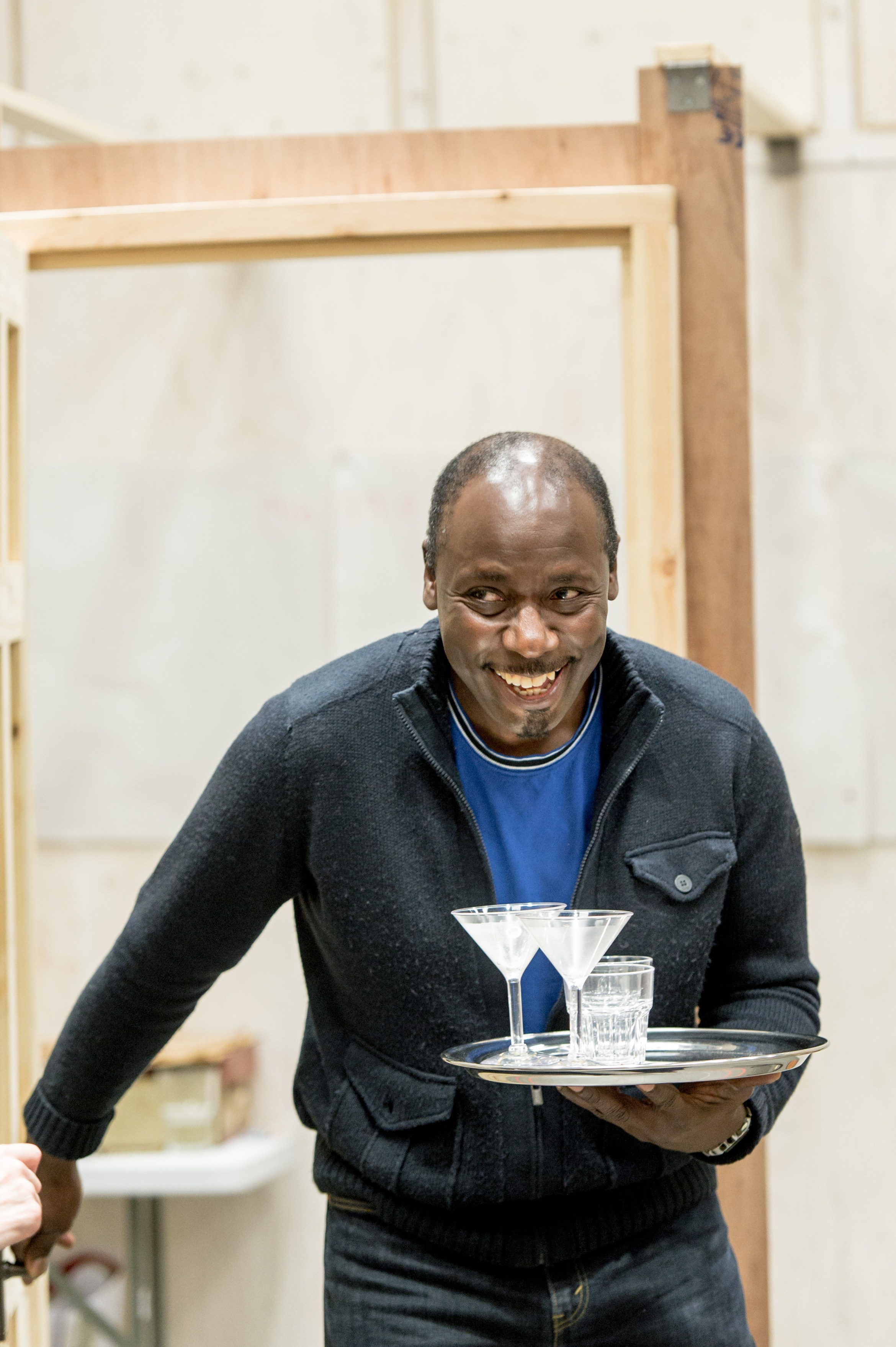 Trevor Laird (James) in rehearsal for Welcome Home, Captain Fox! at the Donmar Photographer Manuel Harlan.jpg