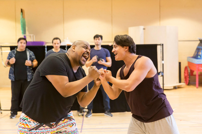 Disney's Aladdin in rehearsals Trevor Dion Nicholas (Genie) and Dean John-Wilson (Aladdin) Credit Johan Persson.jpg