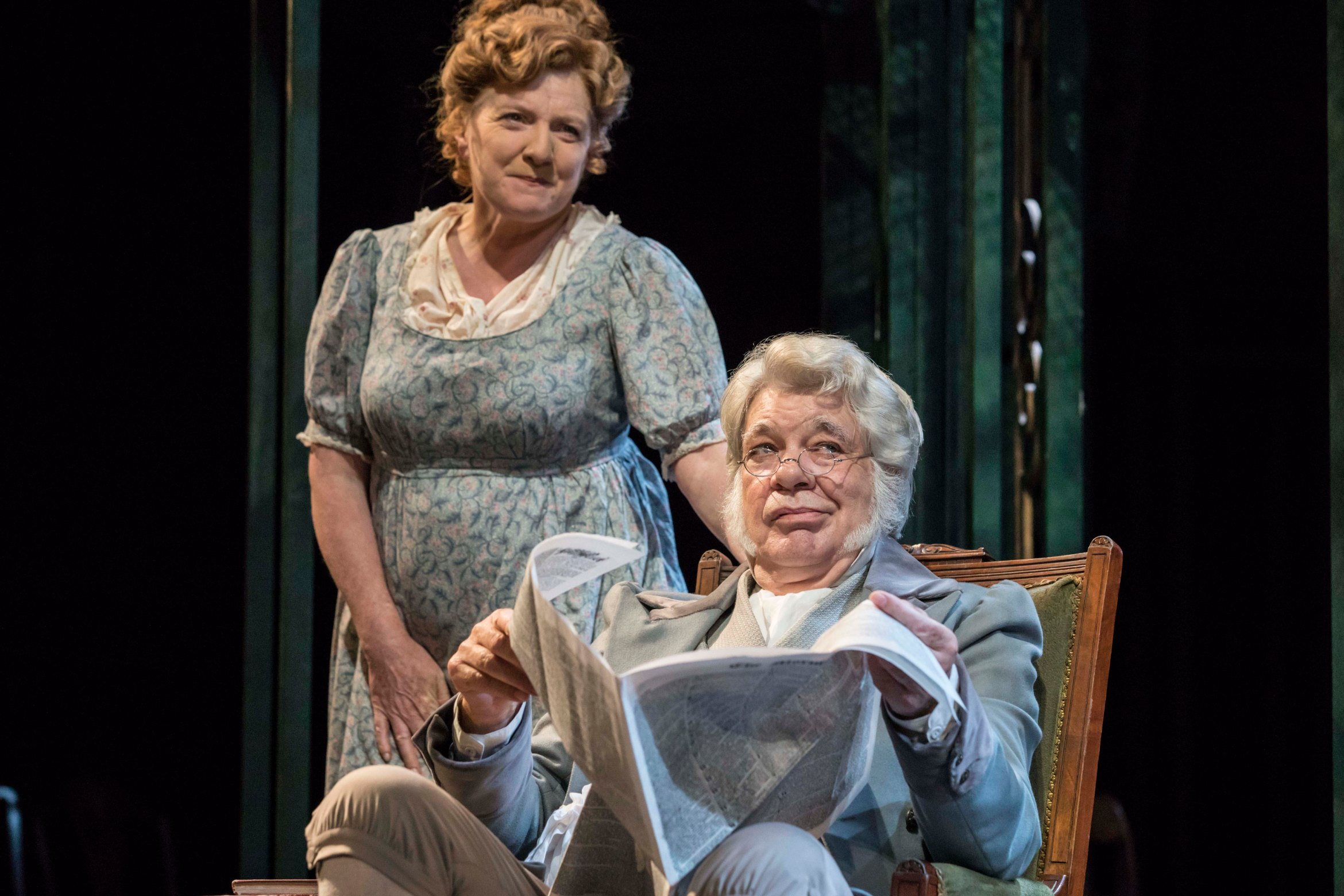 Matthew Kelly and Felicity Montagu as Mr and Mrs Bennet %5b2%5d. Photo Johan Persson.jpg