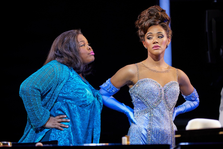 (l-r) Amber Riley and Lily Frazer in Dreamgirls at the Savoy Theatre. Credit Brinkhoff-Mögenburg.jpg