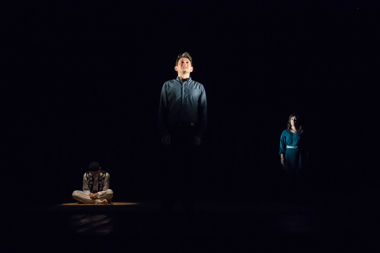 The Kite Runner Playhouse Theatre Sohrab (Andrei Costin) Amir (David Ahmad) Soraya (Lisa Zhara) Photo Irina Chira