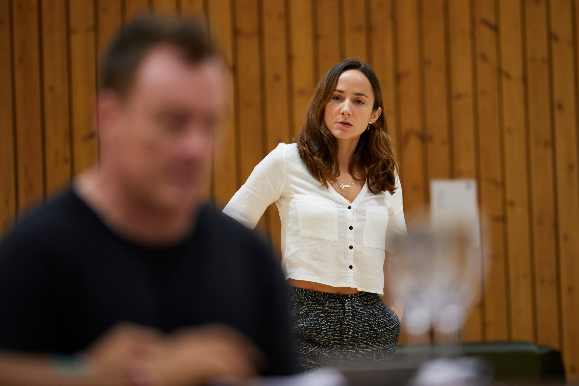 l-r Toby Stephens and Lydia Leonard in rehearsal for 'Oslo' - photo credit Brinkhoff Mögenberg. 988-0057