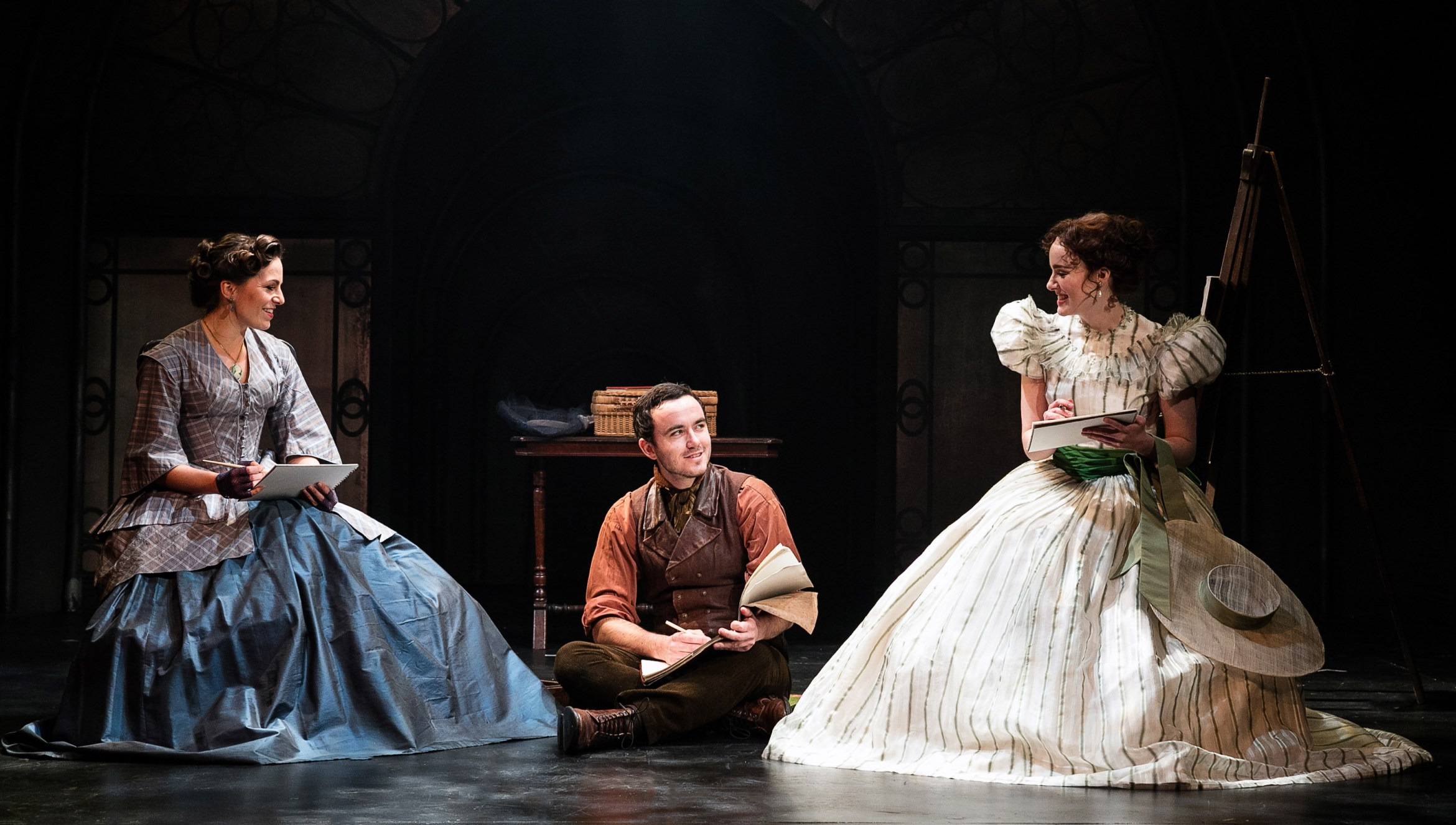 The Woman in White 3 Carolyn Maitland (Marian Halcombe) Ashley Stillburn (Walter Hartright)  Anna O'Byrne (Laura Fairlie) Photo Darren Bell.jpg