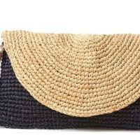 Crochet linen clutch bag