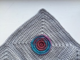 Circles within squares crochet blanket