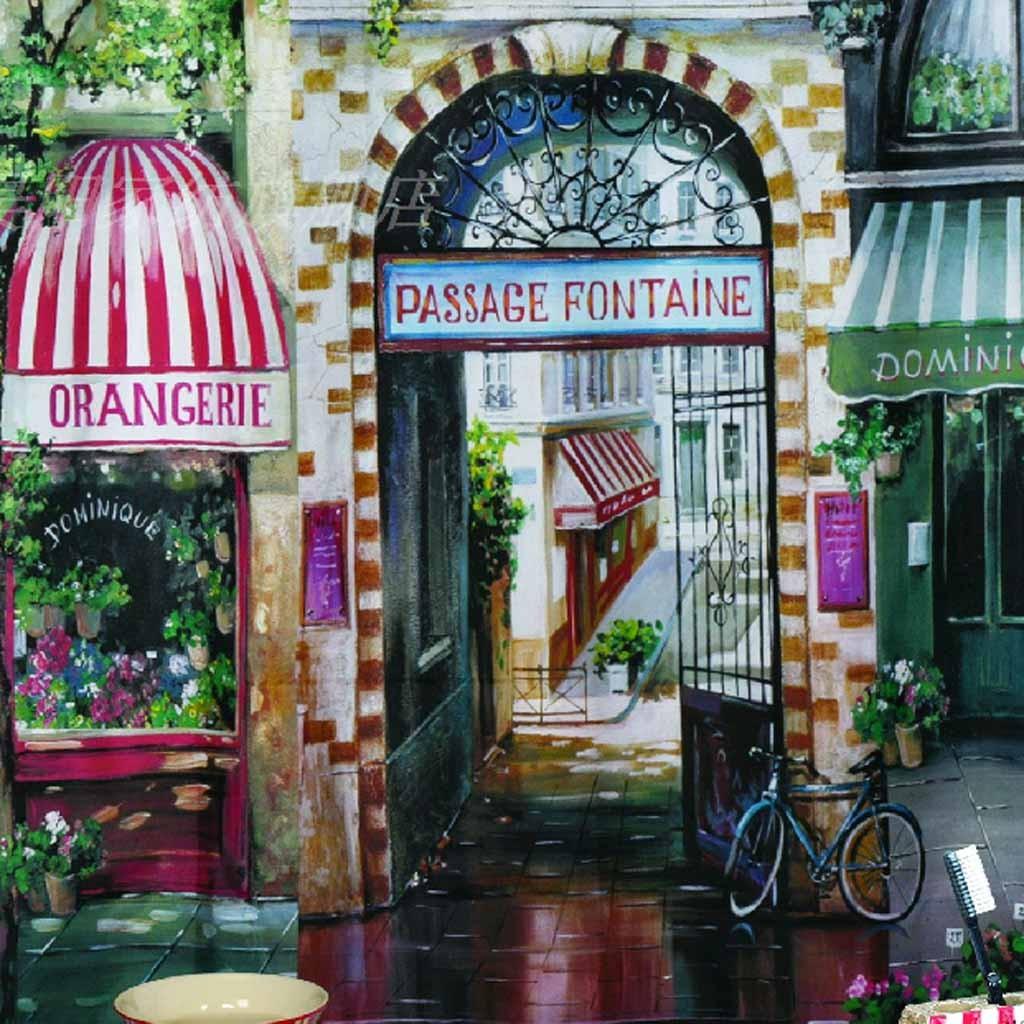 Cute Kitchen Wallpaper Paris Cafe Shower Curtain