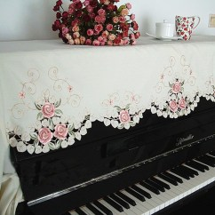 Chair Covers Set Of 6 Fixing Outside Chairs Embroidery Rose Piano Cover