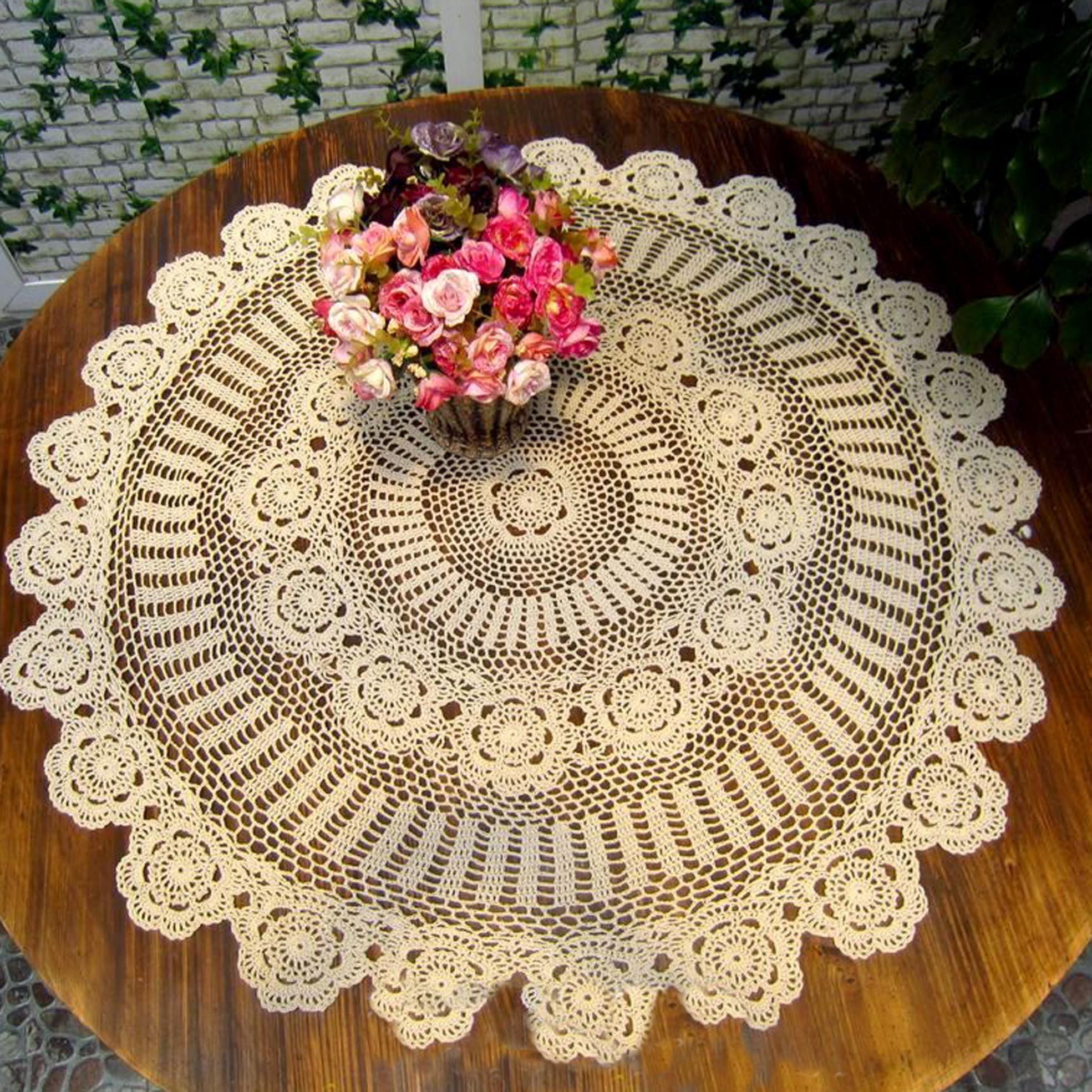 white cotton crochet Tablecloth