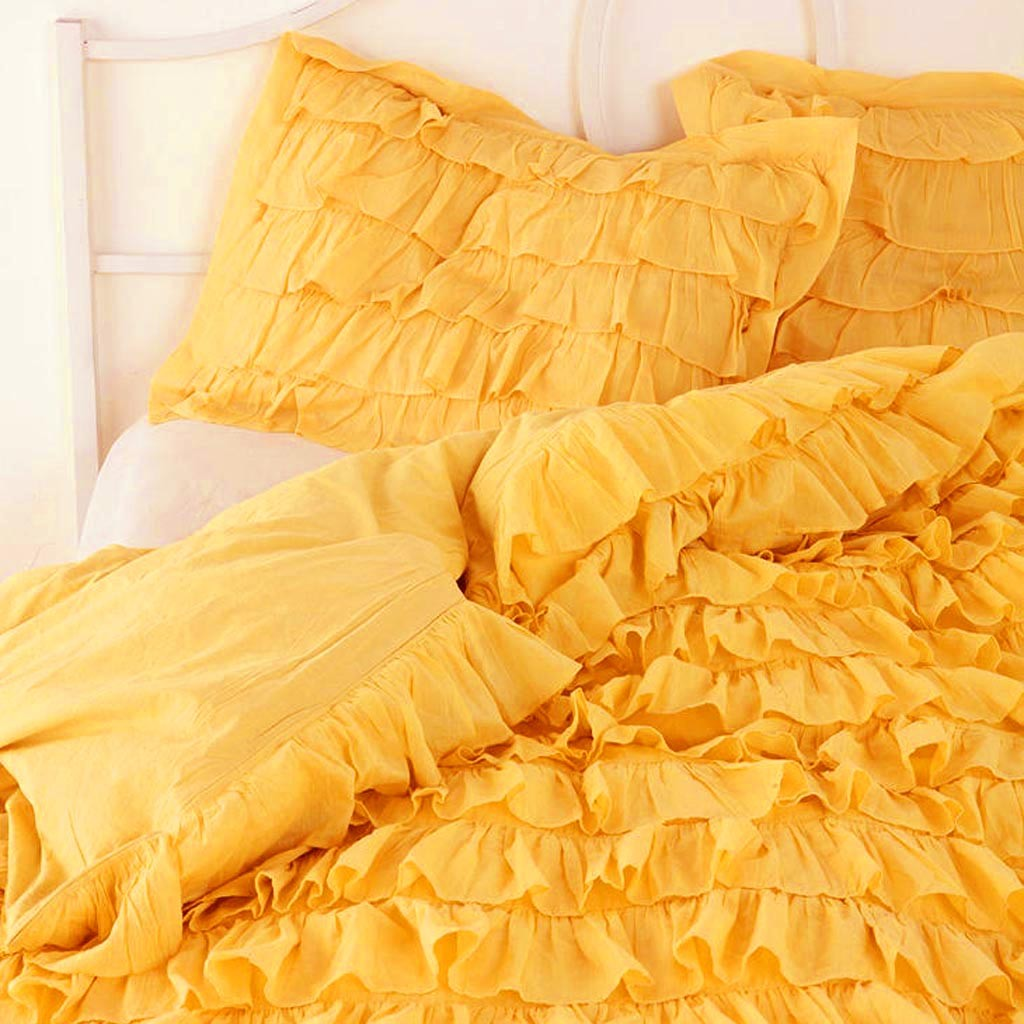 accent chair yellow tufted leather lounge waterfall ruffle bedding set