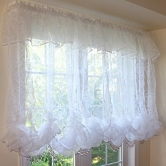 White Kitchen Curtains Oil Bronze Faucet Balloon Curtain