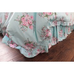 Valance For Living Room Modern Prints Shabby Blue Pink Rose Ruffle Duvet Cover - Florals Bedding