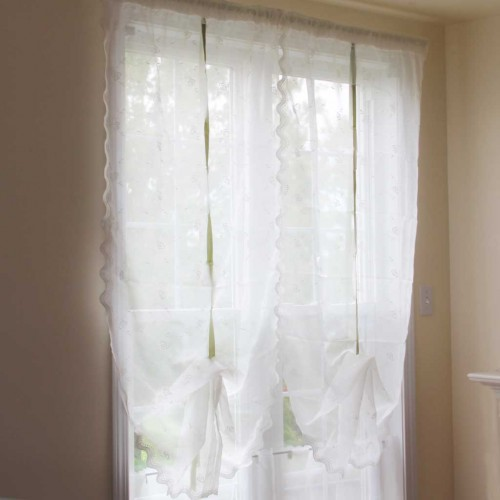 kitchen and bathroom window curtains 3 hole faucet rose embroidery sheer pull-up curtain