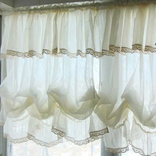 cream living room curtains ideas with dark gray couch balloon shade