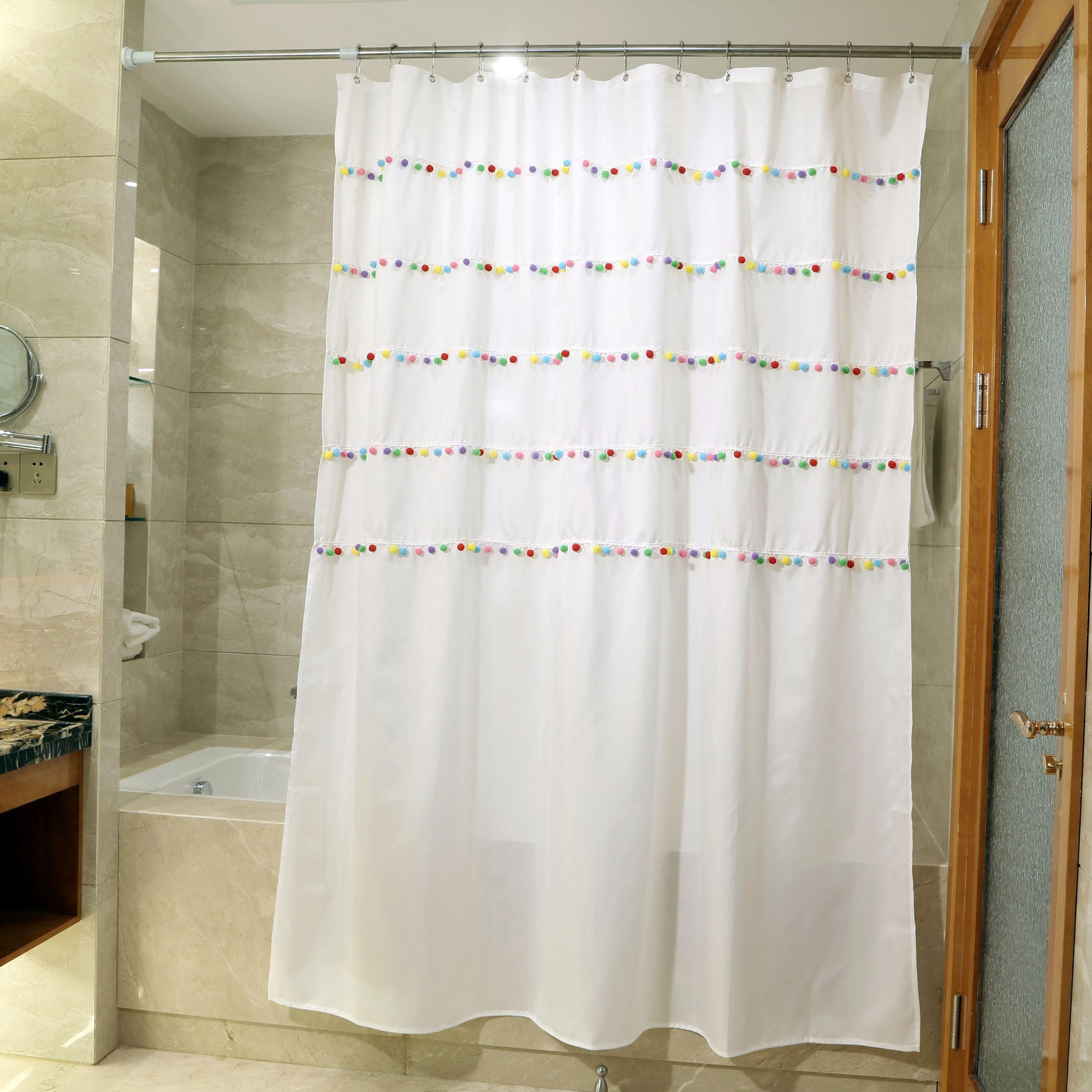 rainbow pom pom shower curtain