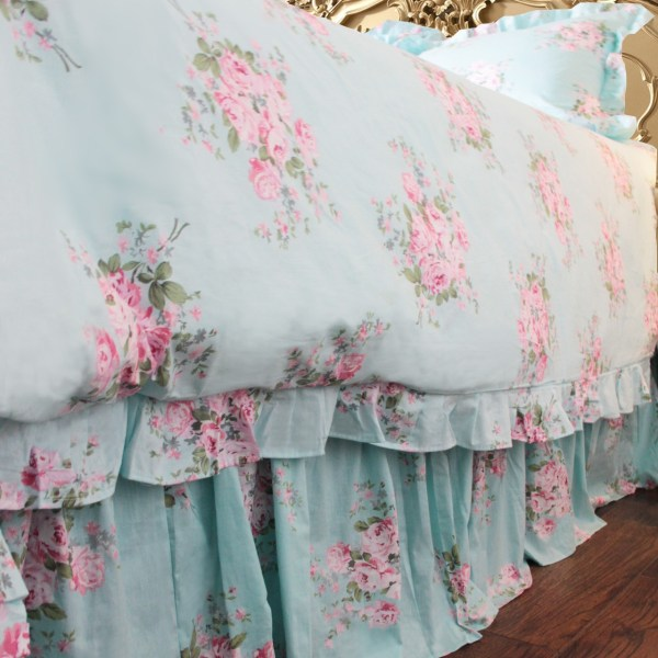 Shabby Blue Pink Rose Ruffle Duvet Cover - Florals Bedding