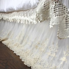 Country Cottage Living Room Decor Decorating Style Lace Bed Skirt