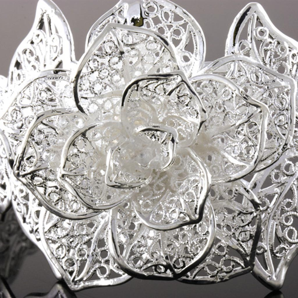 silver rose BANGLE