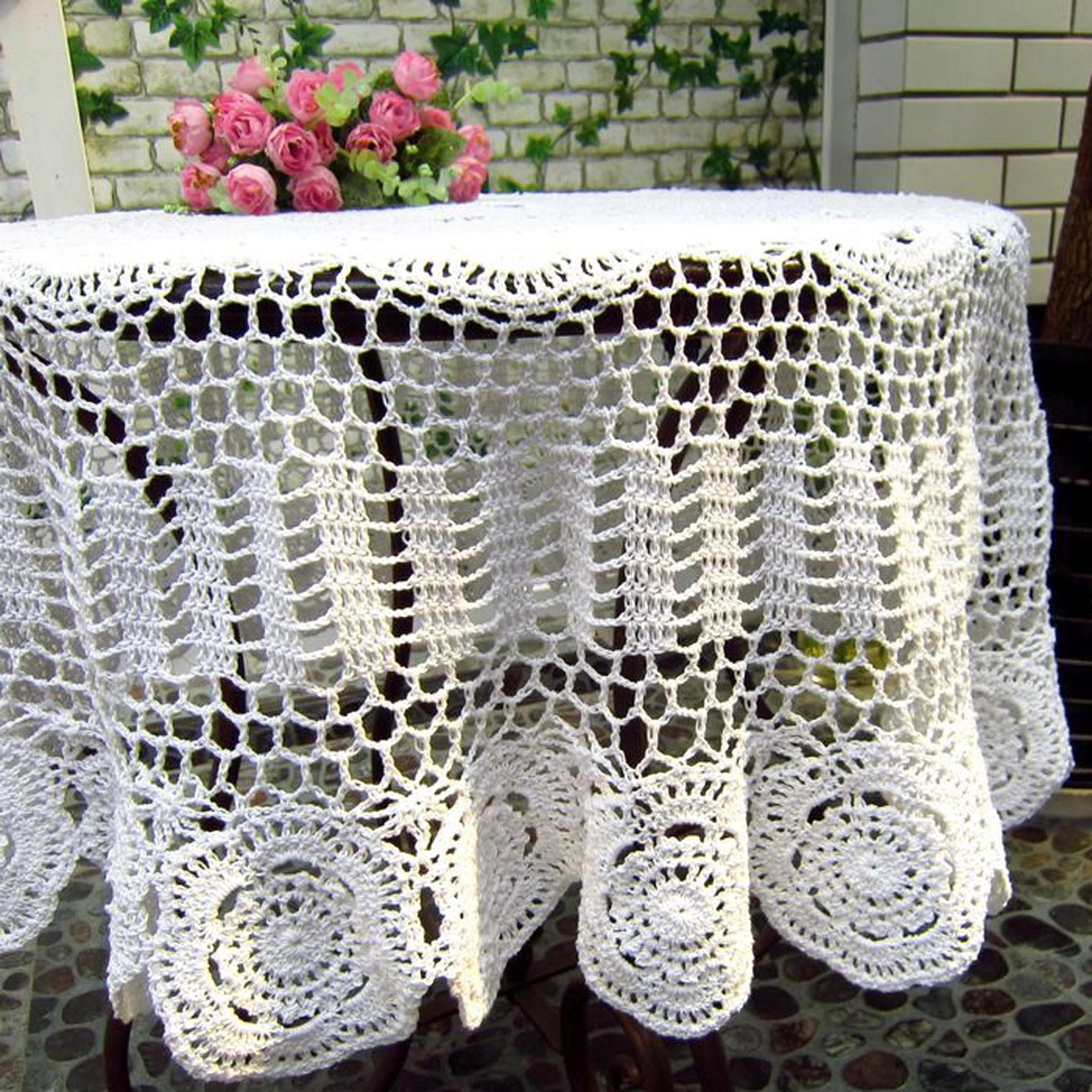 crochet christmas chair covers wheelchair toy white cotton tablecloth
